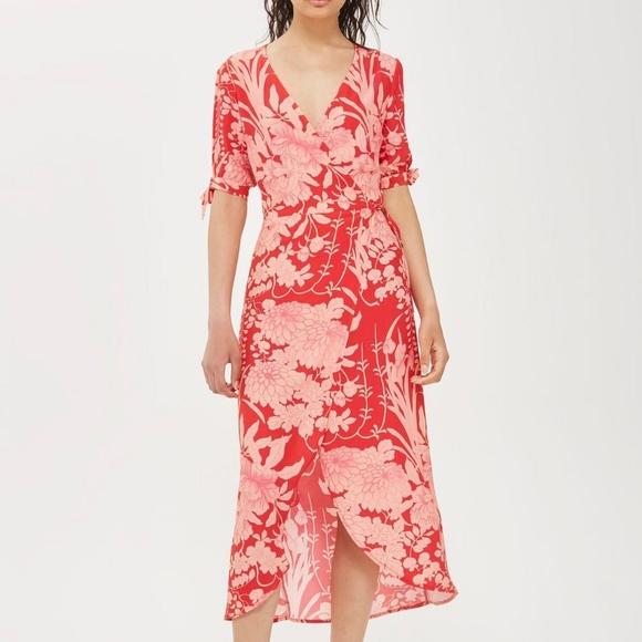 1996a7e28c Topshop red floral wrap dress 2 XS. M 5b91cb4b194dad099a635b8b